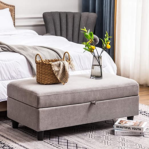 HONBAY Rectangular Storage Ottoman Bench for Bedroom Bench with Storage  Ottoman Lift Top, Light Grey
