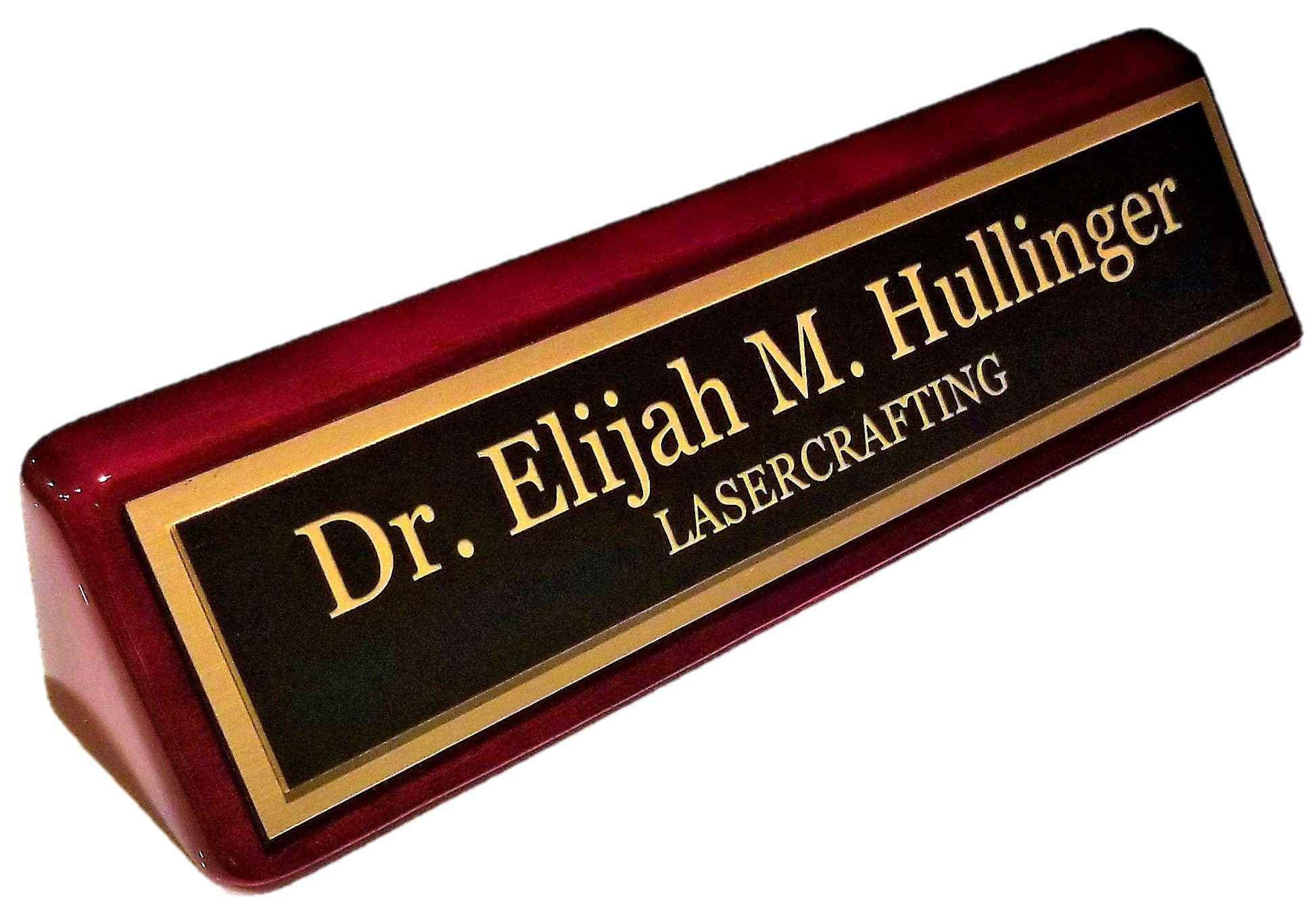 Executive Name Plate Rosewood Piano Finish Gold Plate 2'' x10'' - Customize