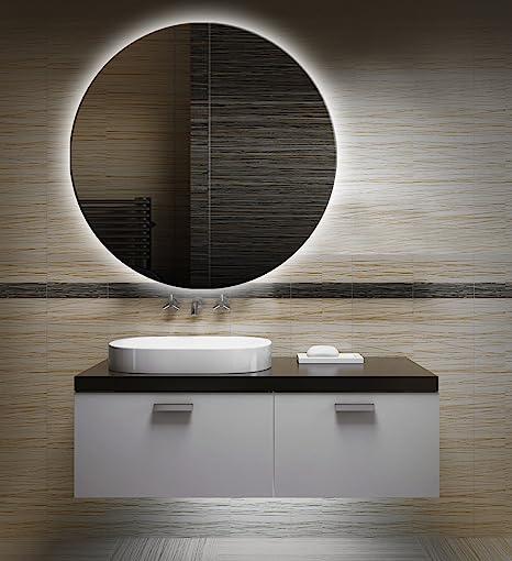 Badezimmerspiegel mit Beleuchtung LED Spiegel - 70 cm Durchmesser -runder  Badspiegel mit Licht - Design Spiegel für Bad und Gäste WC hinterleuchtet -  ...