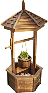 LOKATSE HOME Outdoor Rustic Wishing Well Planter with Hanging Bucket Flower for Patio Garden Home Decor, Burnt-Finished