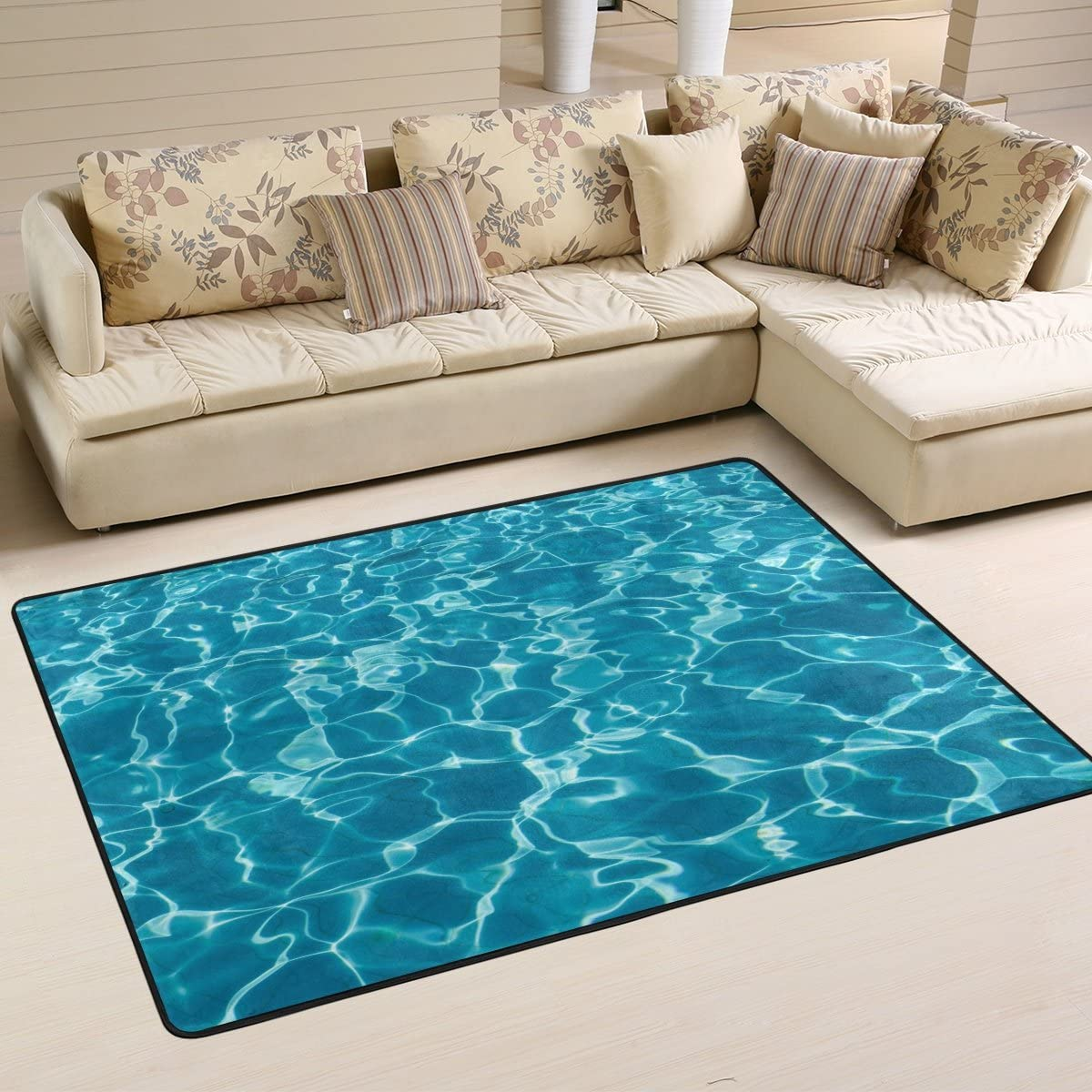ALAZA Non Slip Area Rug Home Decor, Hipster Turquoise Ocean Wave Durable Floor Mat Living Room Bedroom Carpets Doormats 36 x 24 inches