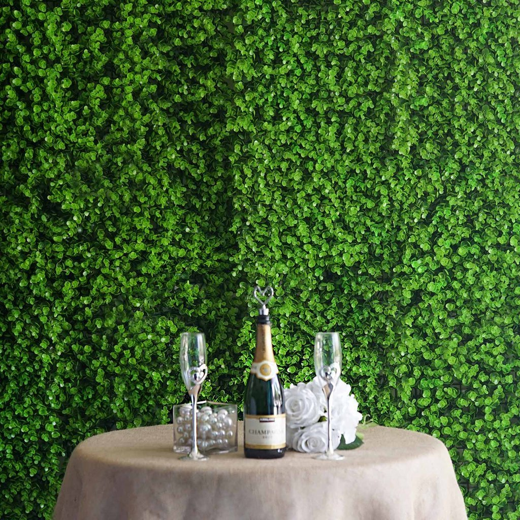 BalsaCircle 4ピース グリーン人工 ボックスウッド 緑の葉 ガーデン 葉 UV保護 壁 背景パネル 写真 背景 B07GBZX2LM