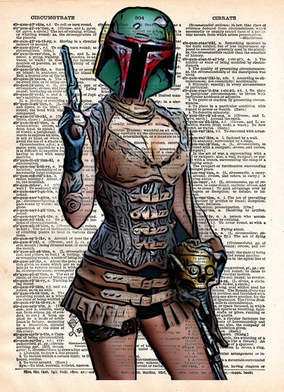 Boba Fett pin up girl, star wars art, sexy star wars, cool pop art, vintage dictionary art print 4
