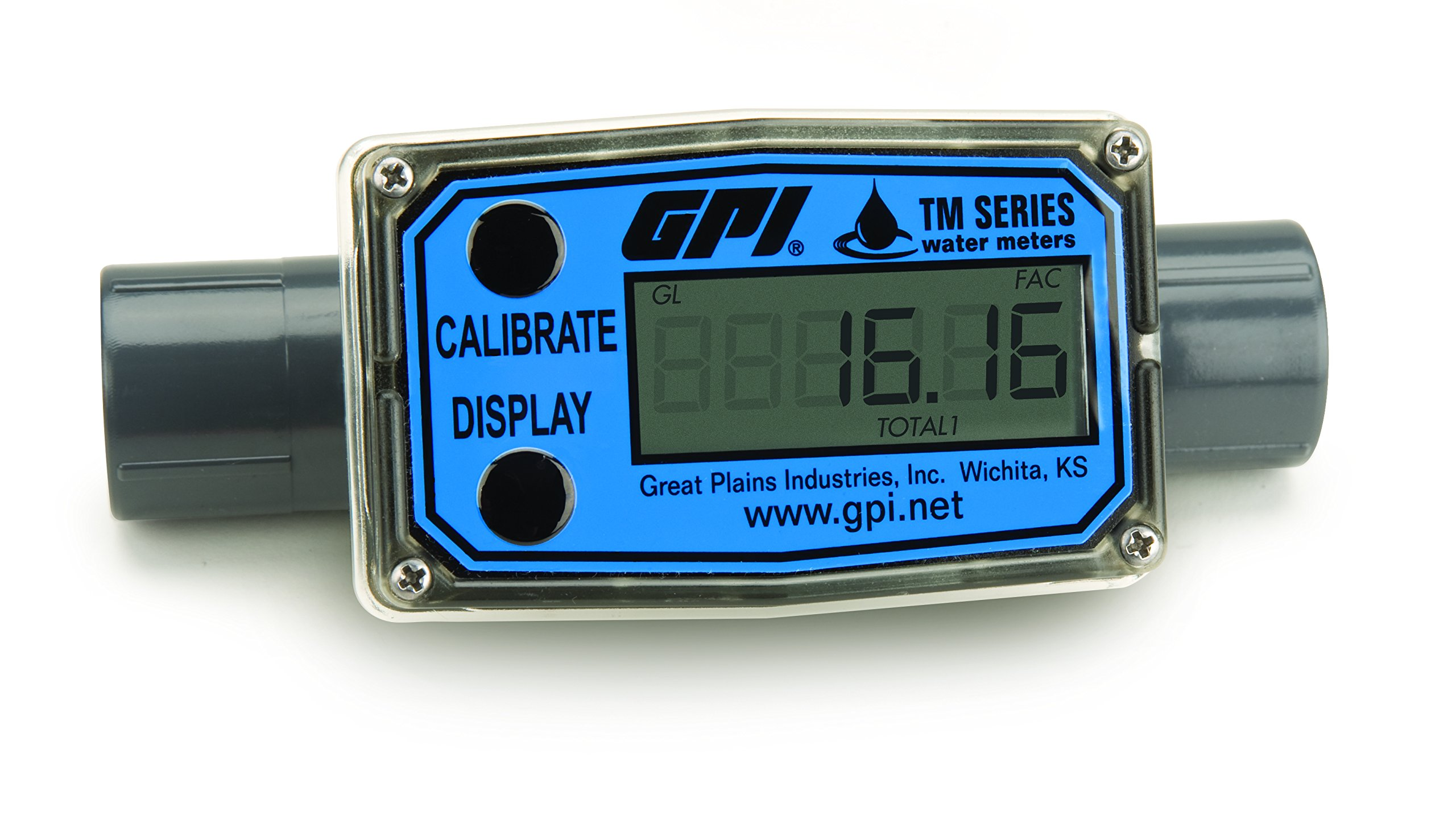 FLOMEC TM050-N, PVC Turbine Flowmeter for Use with Water & Mild Chemicals, 0.5-Inch FNPT Fitting, 1-10 GPM, LCD Display, +/-3 Percent Accuracy, Durable Schedule 80 PVC