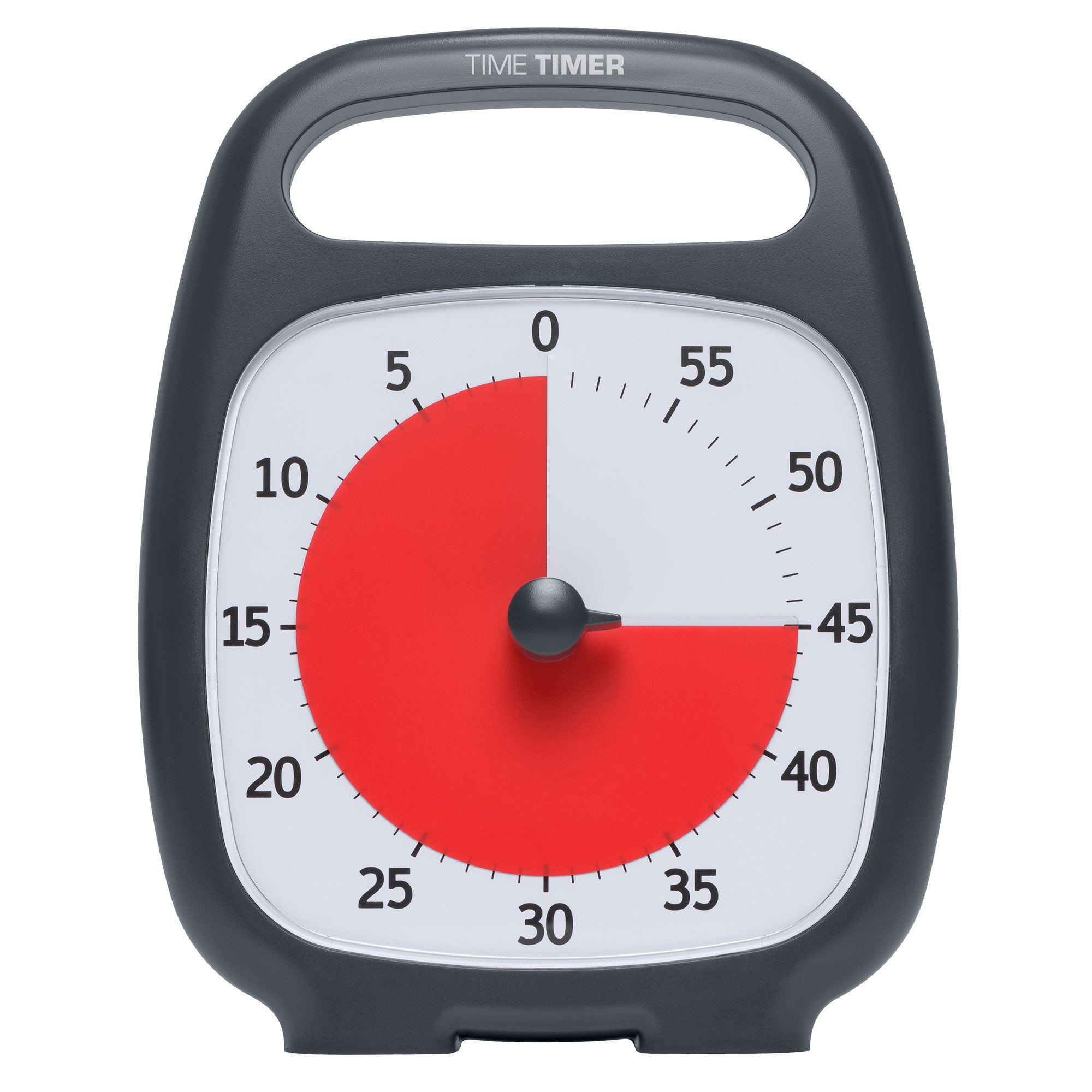 "Time Timer TTP7-W TTP7-W Plus 60 Minute Visual Analog Timer; Optional Alert (Volume-Control Dial); Silent Operation (No Ticking); 5.5"" Wide x 7"" Tall; Time Management Tool; Charcoal"