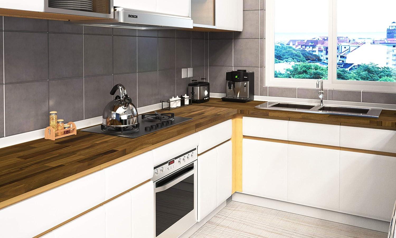 Interbuild Encimeras de Cocina de Madera Maciza de Acacia, 2200x635x26 mm, marrón, 1 Pieza/Paquete: Amazon.es: Hogar