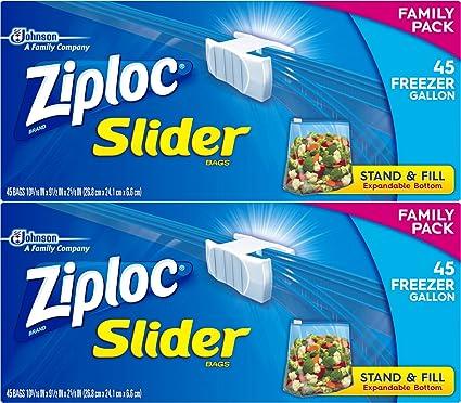 Deslizador de Ziploc Gallon bolsas de congelación, 90 Bags ...