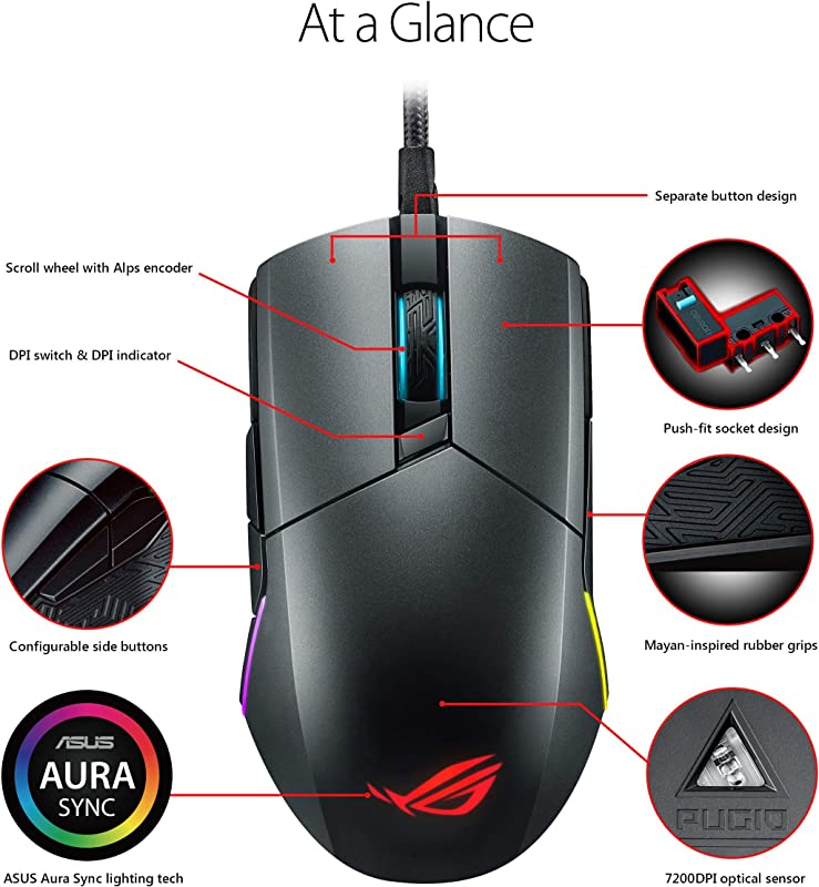 ASUS Optical Gaming Mouse - ROG Pugio | Ergonomic & Truly Ambidextrous PC