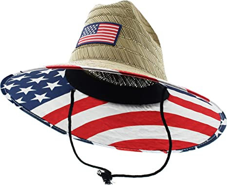 JFH American US State Pride Wide Brim Beach Sun Straw Hat with Chin Cord