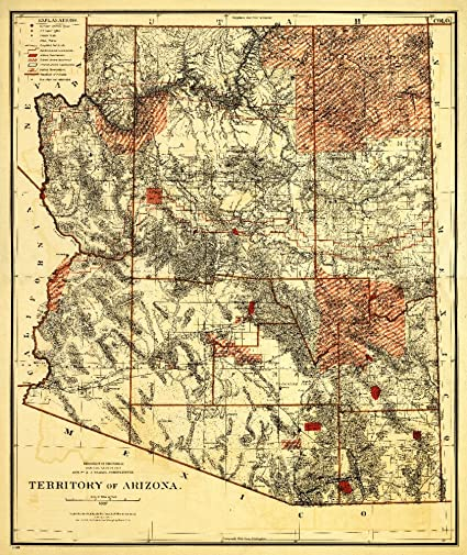Travel Map Of Arizona.Arizona Territory 1887 Panoramic Map 12x18 Art Print Wall Decor Travel Poster