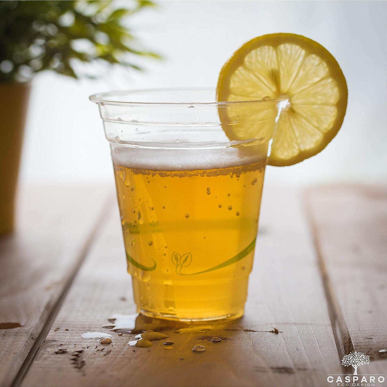 Tasses id/éal pour les f/êtes et les barbecues Verres jetables en PLA pour boissons froides 50 x Gobelets jetables transparent Vaisselle /à usage unique /Écologique et biod/égradable