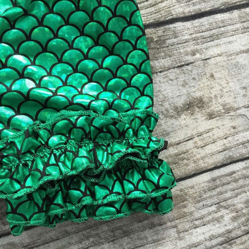 EGELEXY Kids Girls Summer Ruffle Shirts Sequin Mermaid Short Pant Outfits with Headband
