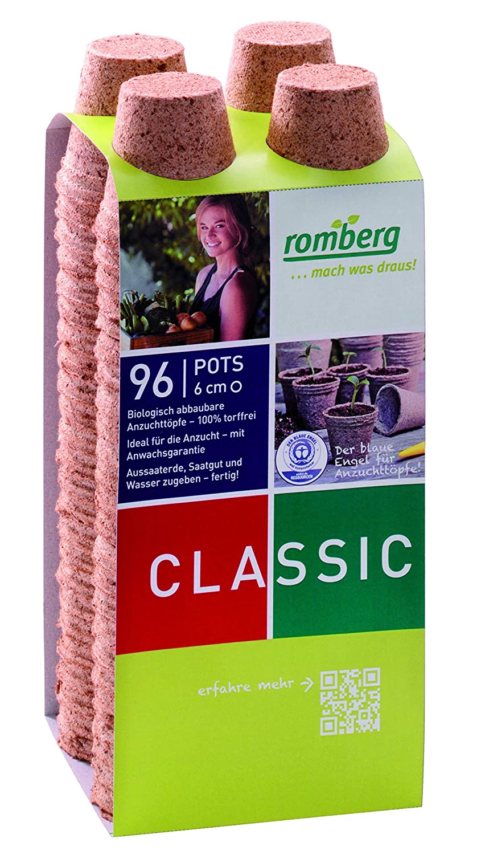 100/% torffrei Romberg Anzuchttöpfe 6 cm rund aus Kokos 96 Stück