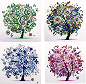 New 4Pack 5D Diamond Painting Kit, DIY Diamond Number Rhinestone Painting Kits for Adults and Children Embroidery Diamond Arts Craft Home Decor 11.811.8inch