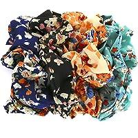 Set of 4 Hair Accessories Set Women Girls Pattern Elastic Ties Scrunchies for Hair (Floral Print)
