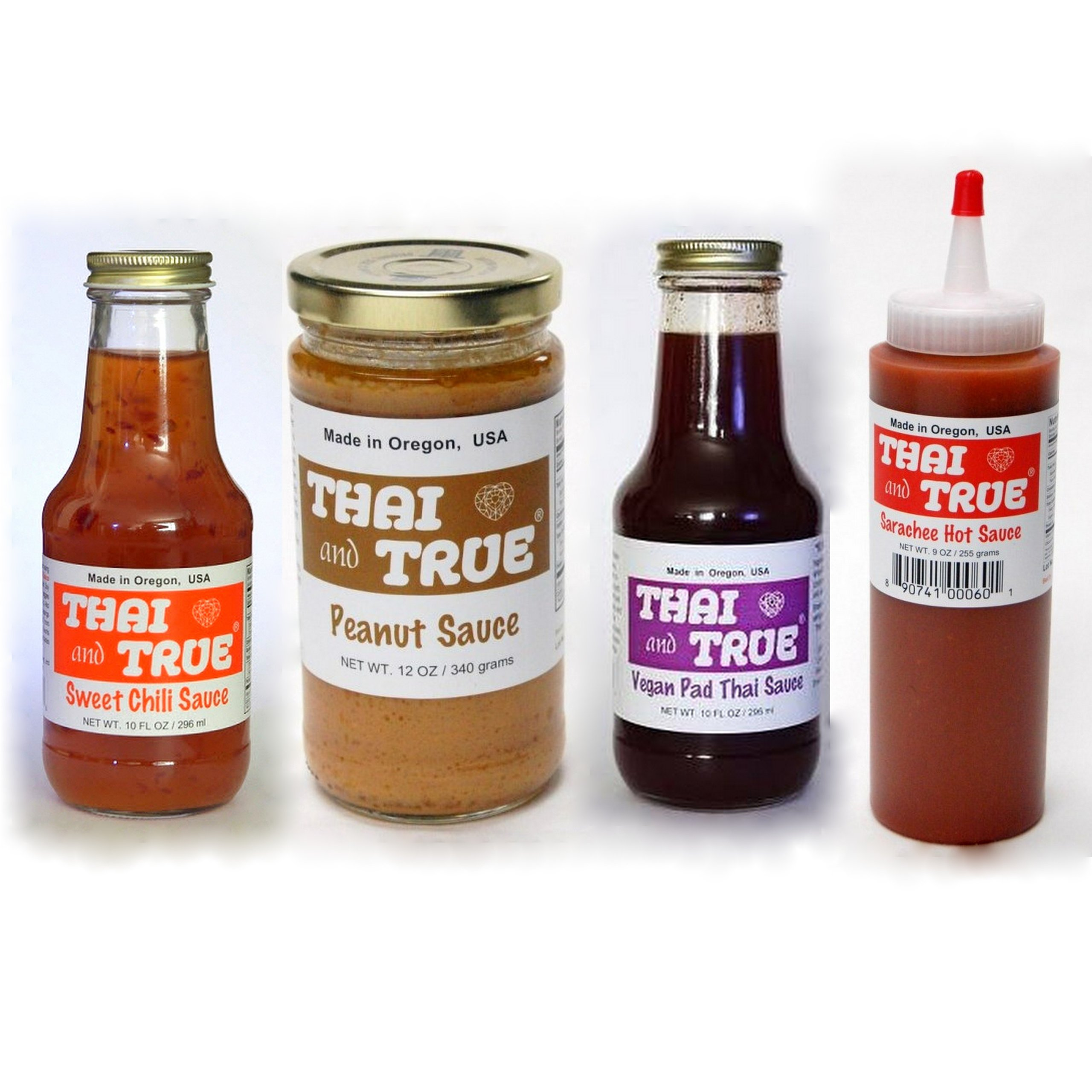 Thai and True Vegan Sauce Sampler - Peanut, Pad Thai, Sweet Chili, Sarachee by Thai and True