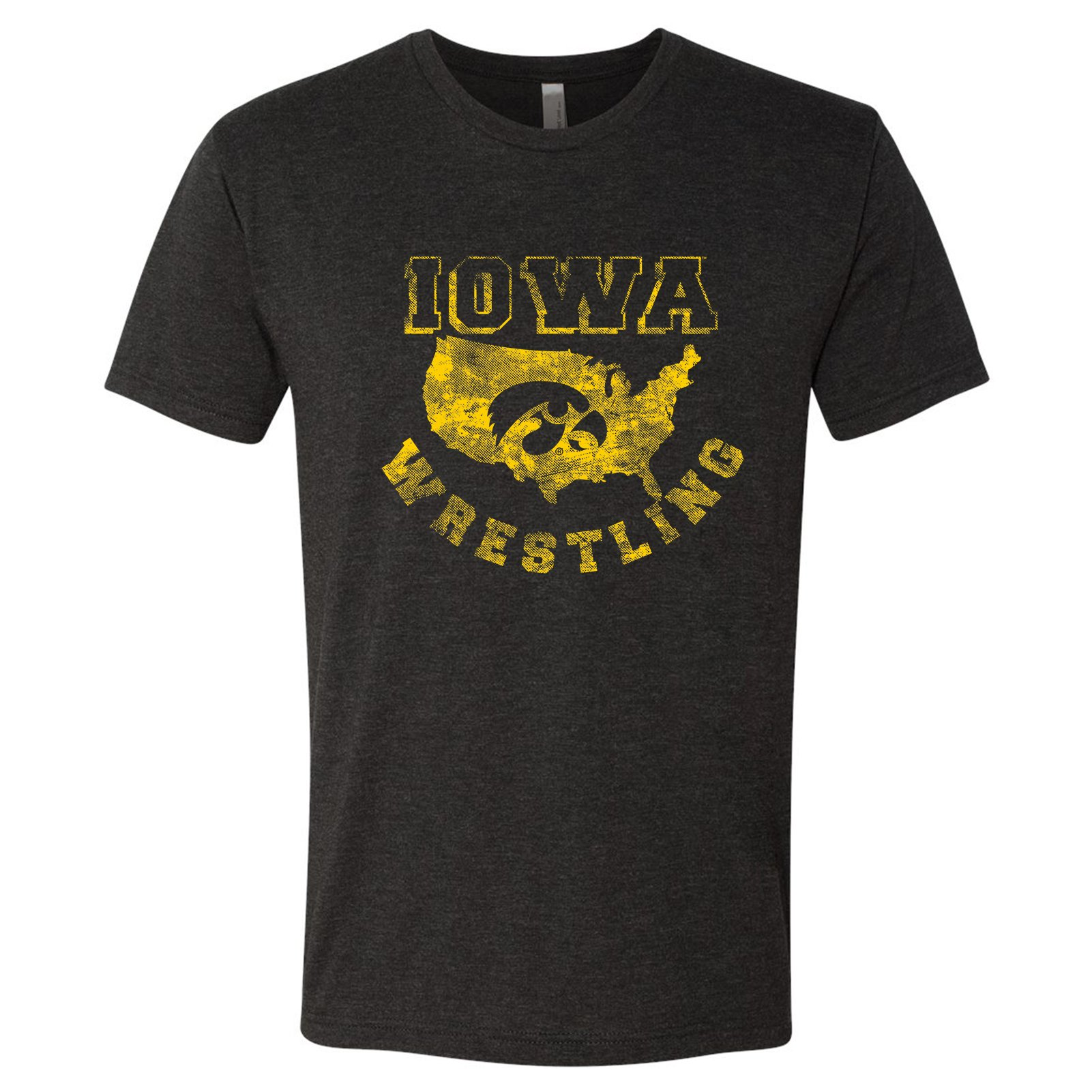 Iowa Hawkeyes USA Wrestling Triblend T Shirt - Medium - Vintage Black by UGP Campus Apparel