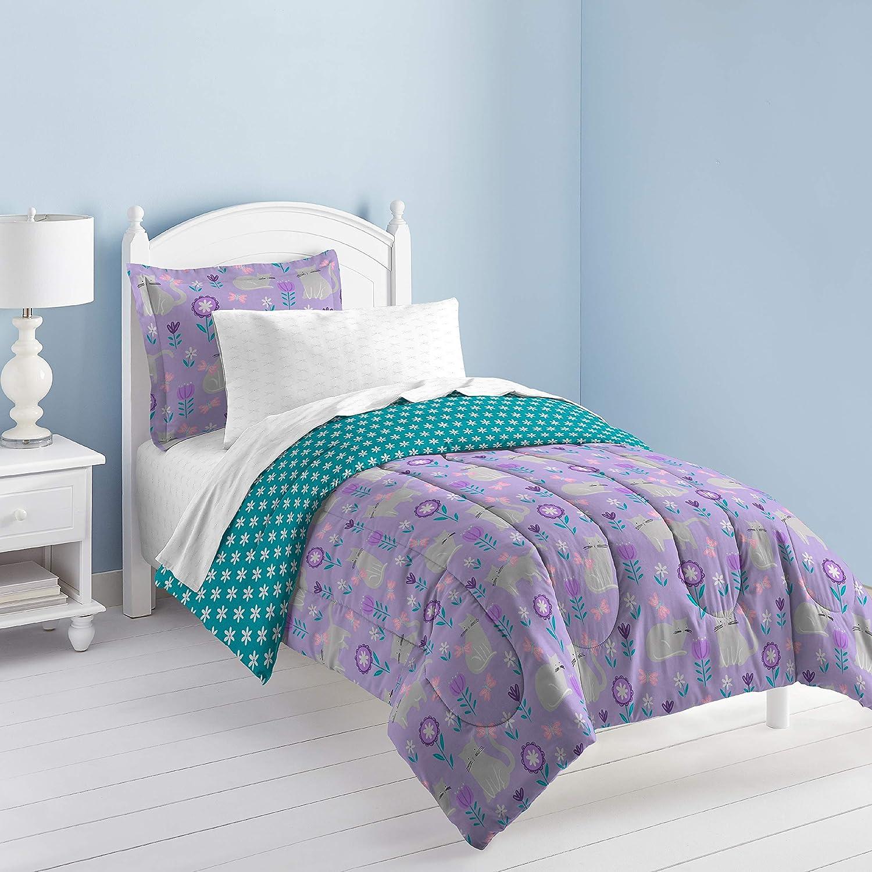 dream FACTORY Cat Garden Comforter Set, Twin, Gray