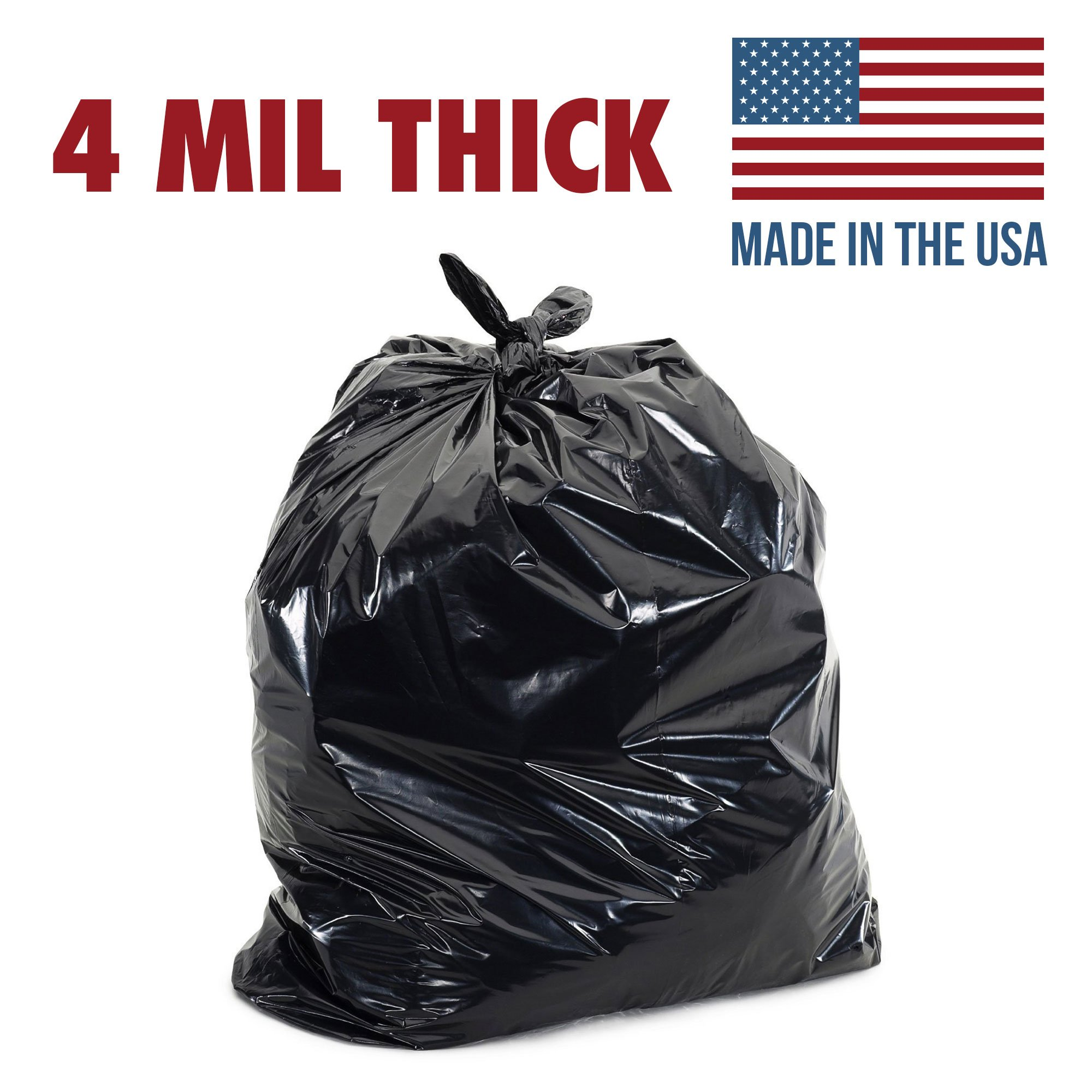 Ox Plastics 60 Gallon 4 Mil Extra Large Heavy Duty Contractor Bags, Made in USA, Trash Bag 41x60 (35 Count)