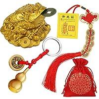3 Ranas de Monedas de Feng Shui Monedas de Suerte de Nudo Chino Wu Lou de Latón de Feng Shui con Llaveros de Monetas…