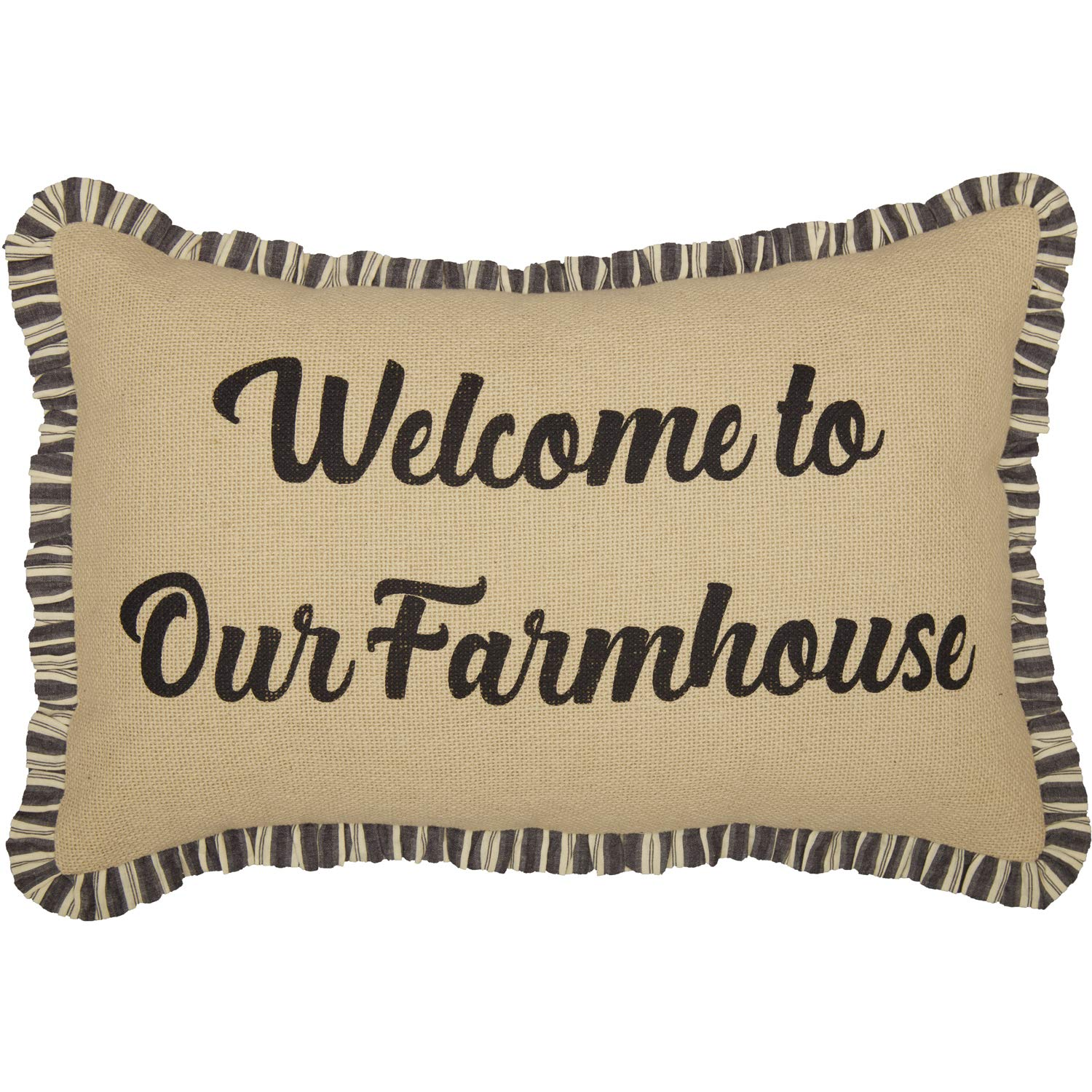 VHC Brands Ashmont Welcome to Our Farmhouse Text Cotton Burlap Thanksgiving Bedding Stenciled 22x14 Filled Pillow, Antique Creme White