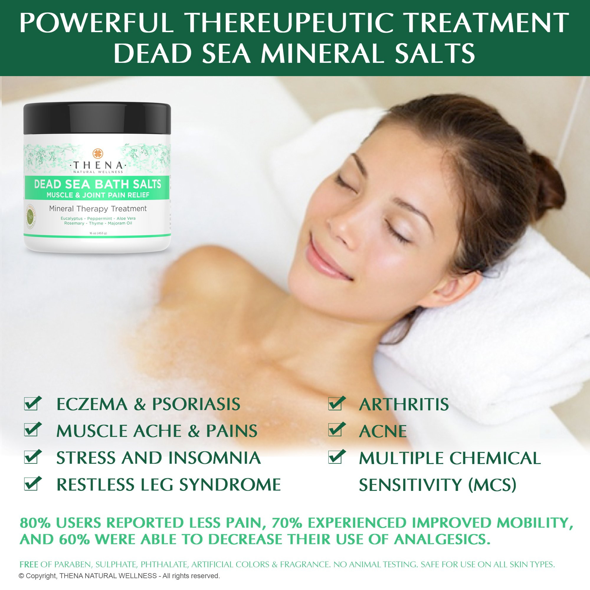 Organic Joint & Muscle Relief Soak, Natural Arthritis Remedies With Arnica & Stress Relieve Essential Oils, Best Spa Bath Sea Salts Product For Relaxation, Soothe Back Neck Shoulder Pain Aches Tension by THENA Natural Wellness (Image #2)