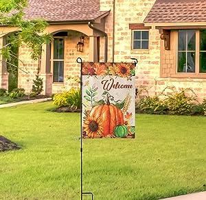 SOUMNS Fall Garden Flag, 11.8x15.7 inches Double Sided Fall Welcome Pumpkins Decorative Garden Flag for Farmhouse Home Outdoor (Only Flag)