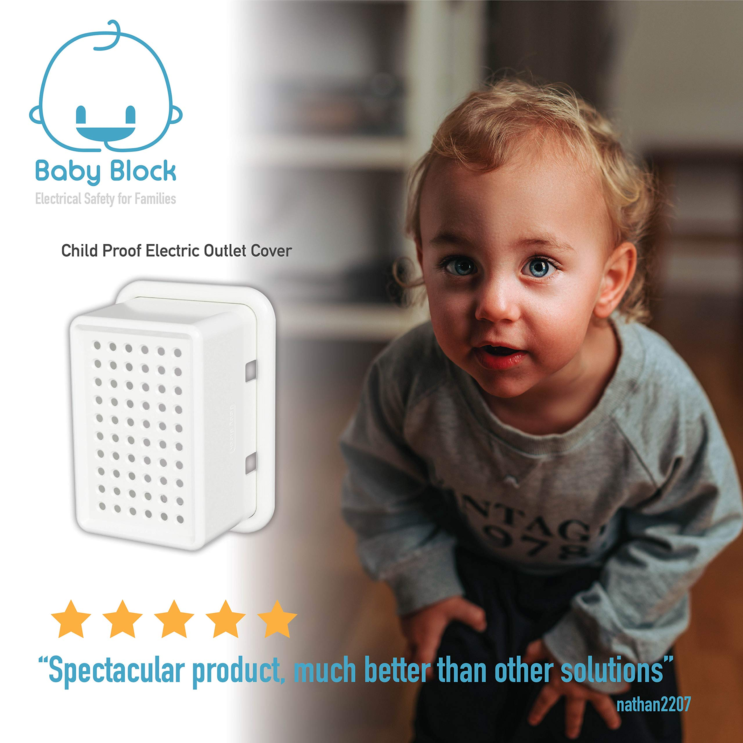 New: Universal Electric Outlet Cover | Child Safety & Baby Proofing | Protect Power Outlets, Wall Sockets and Plugs by Baby Block (Image #9)