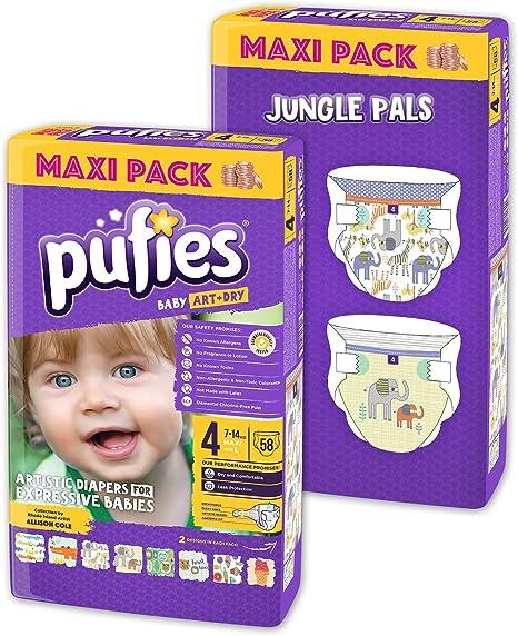 Paquete de pañales para bebé con diseños Pufies Art&Dry Jungle Pals - 116 pañales estampados de la talla 4 (7-14 kg): Amazon.es: Bebé