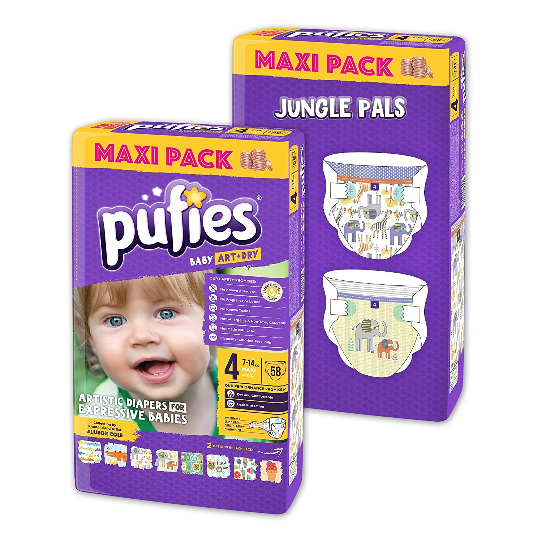 Paquete de pañales para bebé con diseños Pufies Art&Dry Jungle Pals - 116 pañales estampados de la talla 4 (7-14 kg)