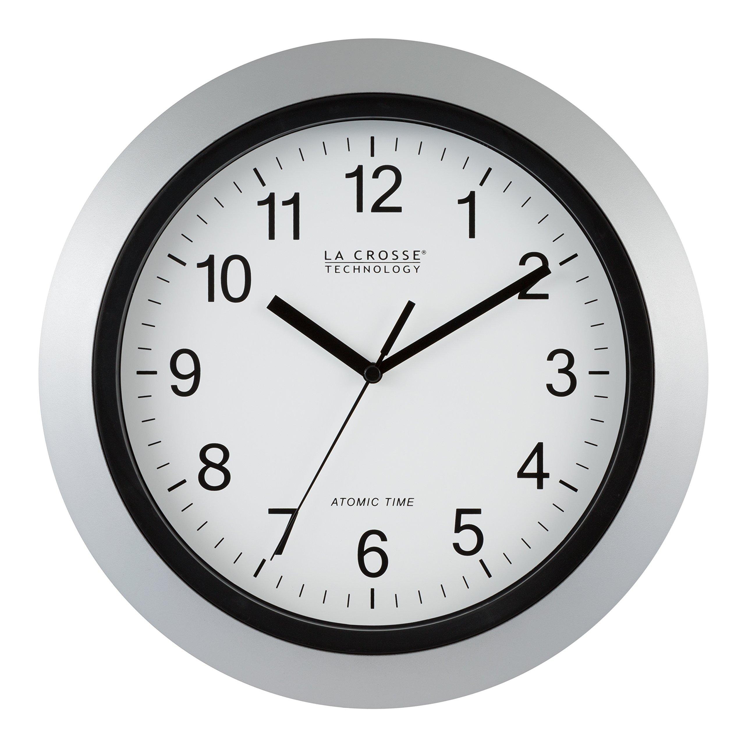 La Crosse Technology WT-3129S Atomic Analog Wall Clock, 12'', Silver