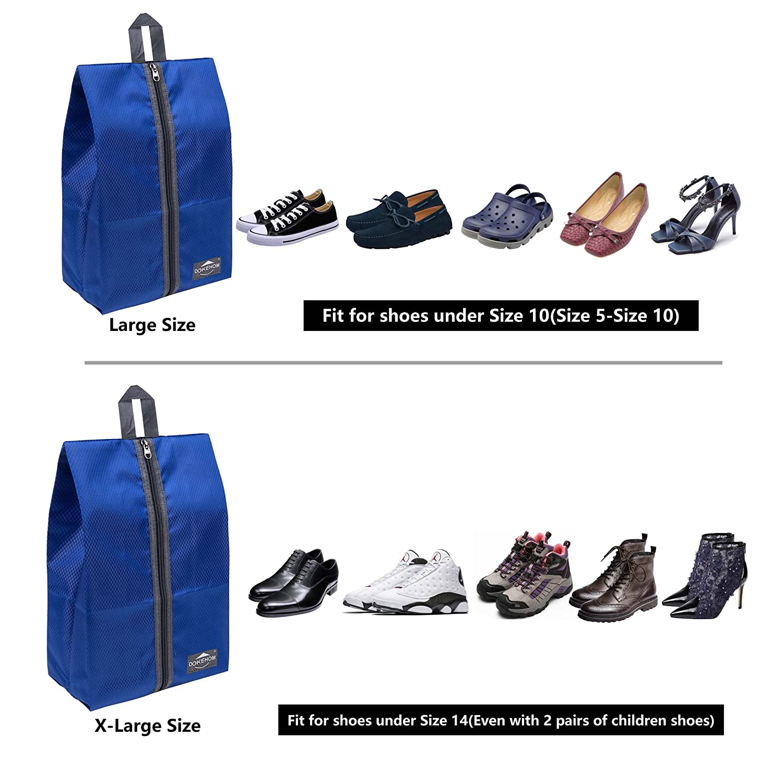 8 Colors with Zipper Closure for Men Women DOKEHOM DKA3030G Portable Multicolor Nylon Travel Shoe Storage Organizer Bag
