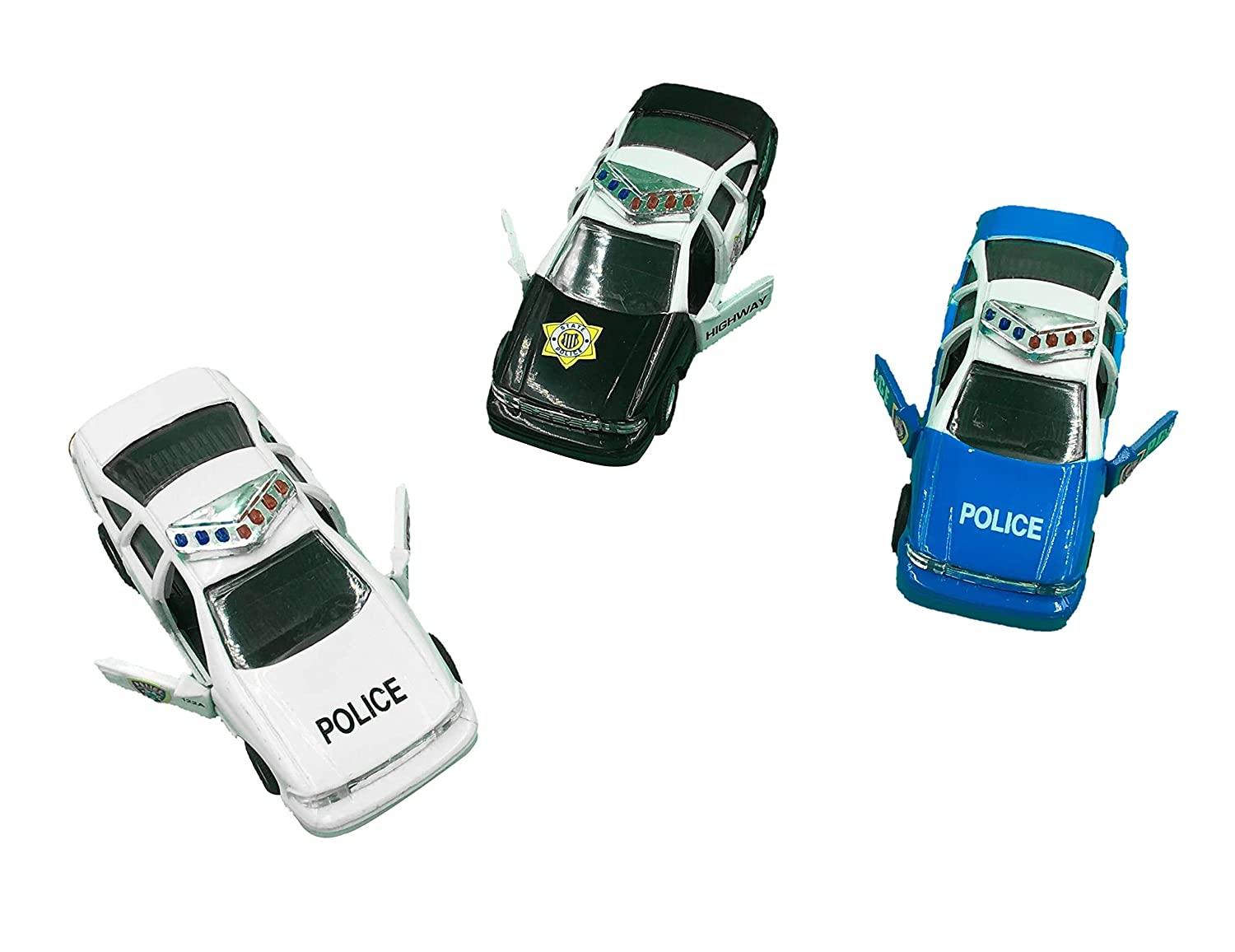 ToyZe® Police Car Die Cast Metal, 5 Inch Pull Back Police Cars, Open-able Doors, Rubber Tires, Full Metal Body, Set of 3: Amazon.es: Juguetes y juegos