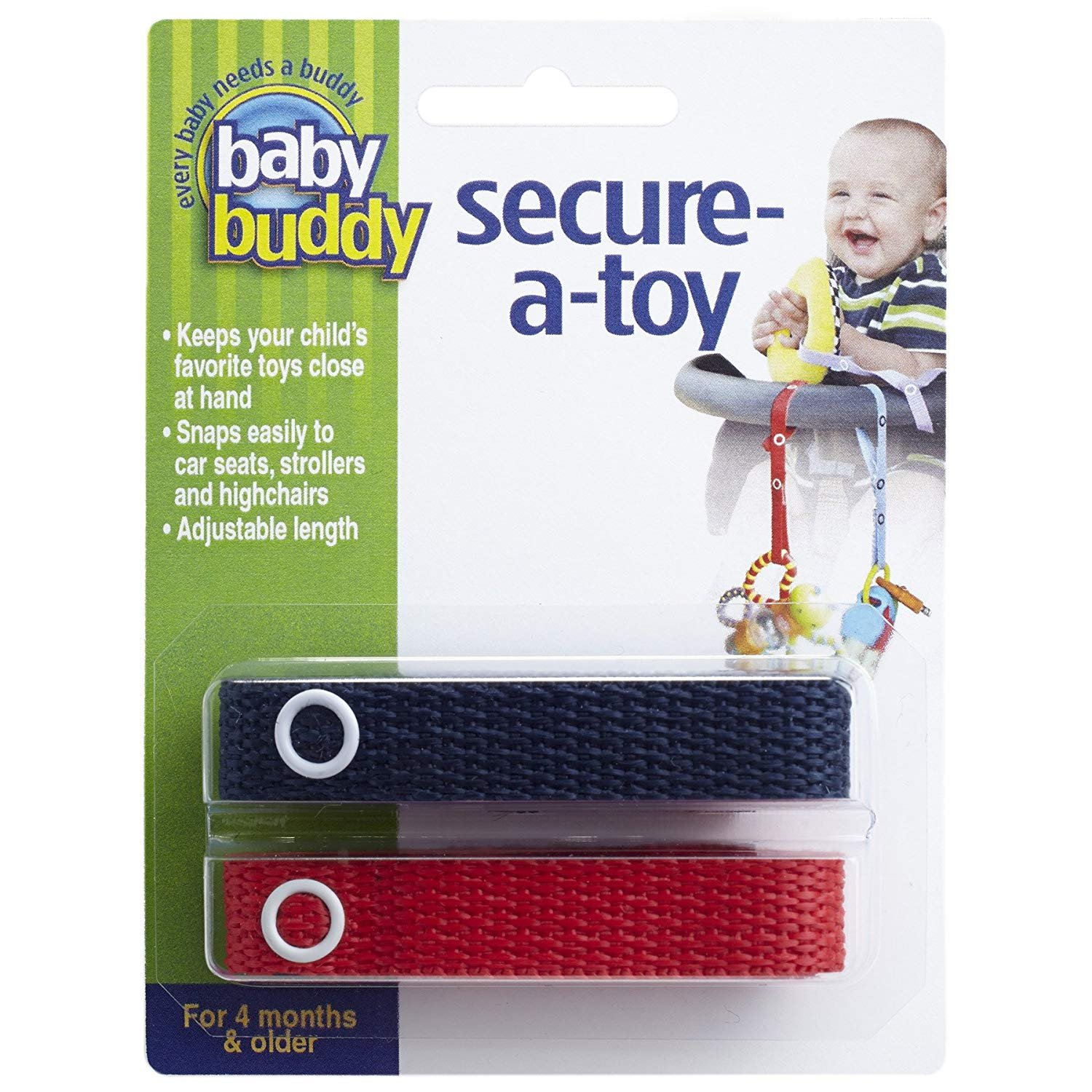Baby Buddy Secure-A-Toy - Straps Toys, Teether, or Pacifiers to Strollers, Highchairs, Car Seats— Safety Leash With Adjustable Length to Keep Toys Sanitary & Clean, Navy/Red 2 Count