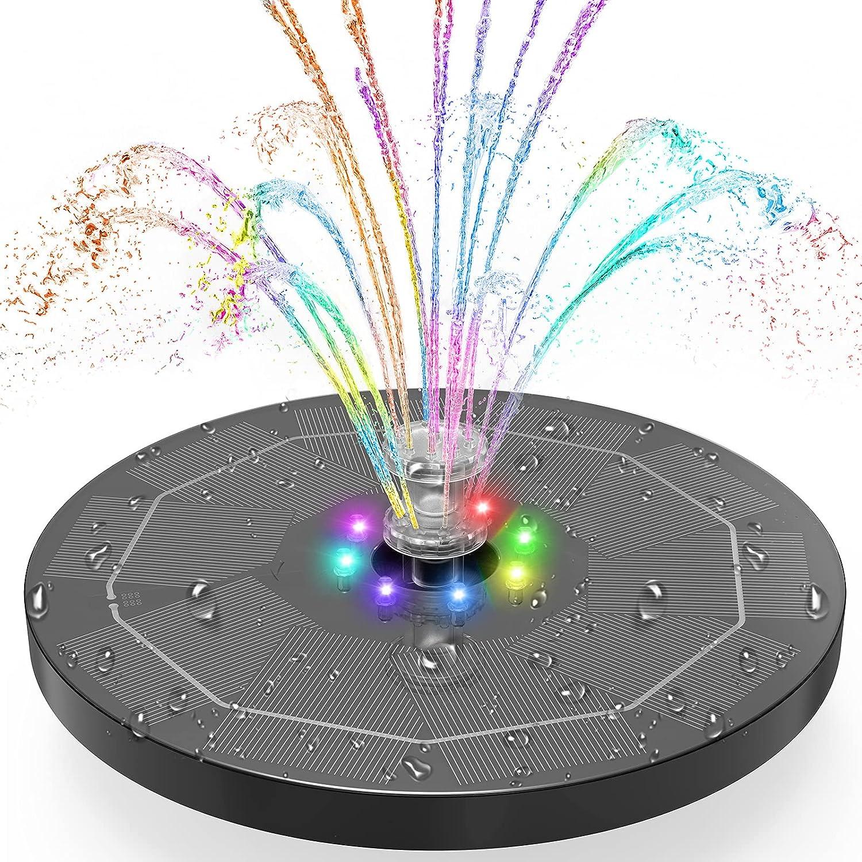Fuente Solar con Luces LED, AISITIN 5.5W Bomba de Agua Solar 7 Colores, Dos Modos Batería Incorp...