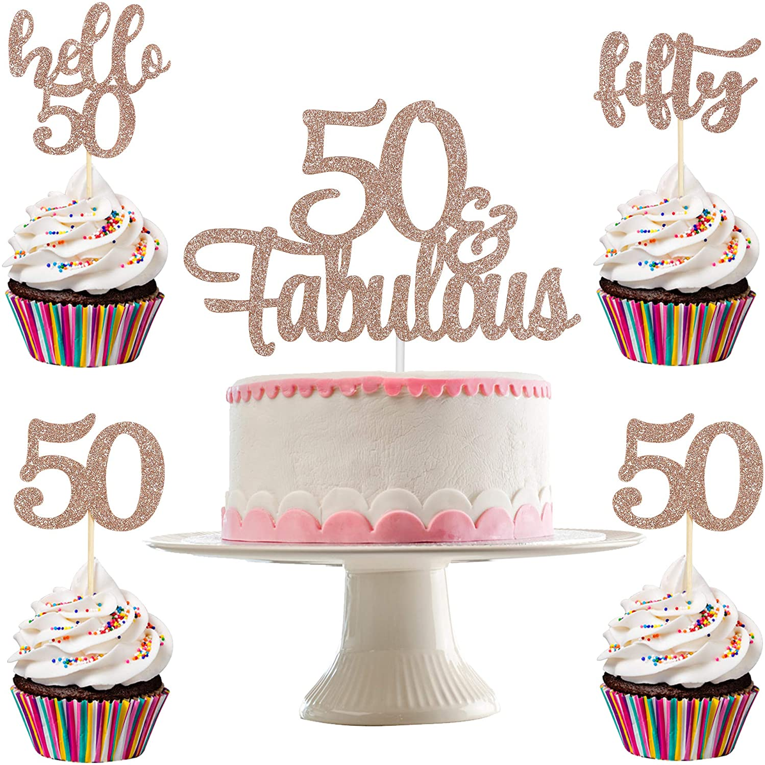 Rose Gold Glittery 50 & Fabulous Cake Topper and 24Pcs Rose Gold Glittery Fifty Hello 50 50 Cupcake Toppers- 50th Birthday Party Decorations,50 Fabulous Decorations,50th Birthday Cake Topper Decor,Anniversary Decor,50 Rose Gold Toppers