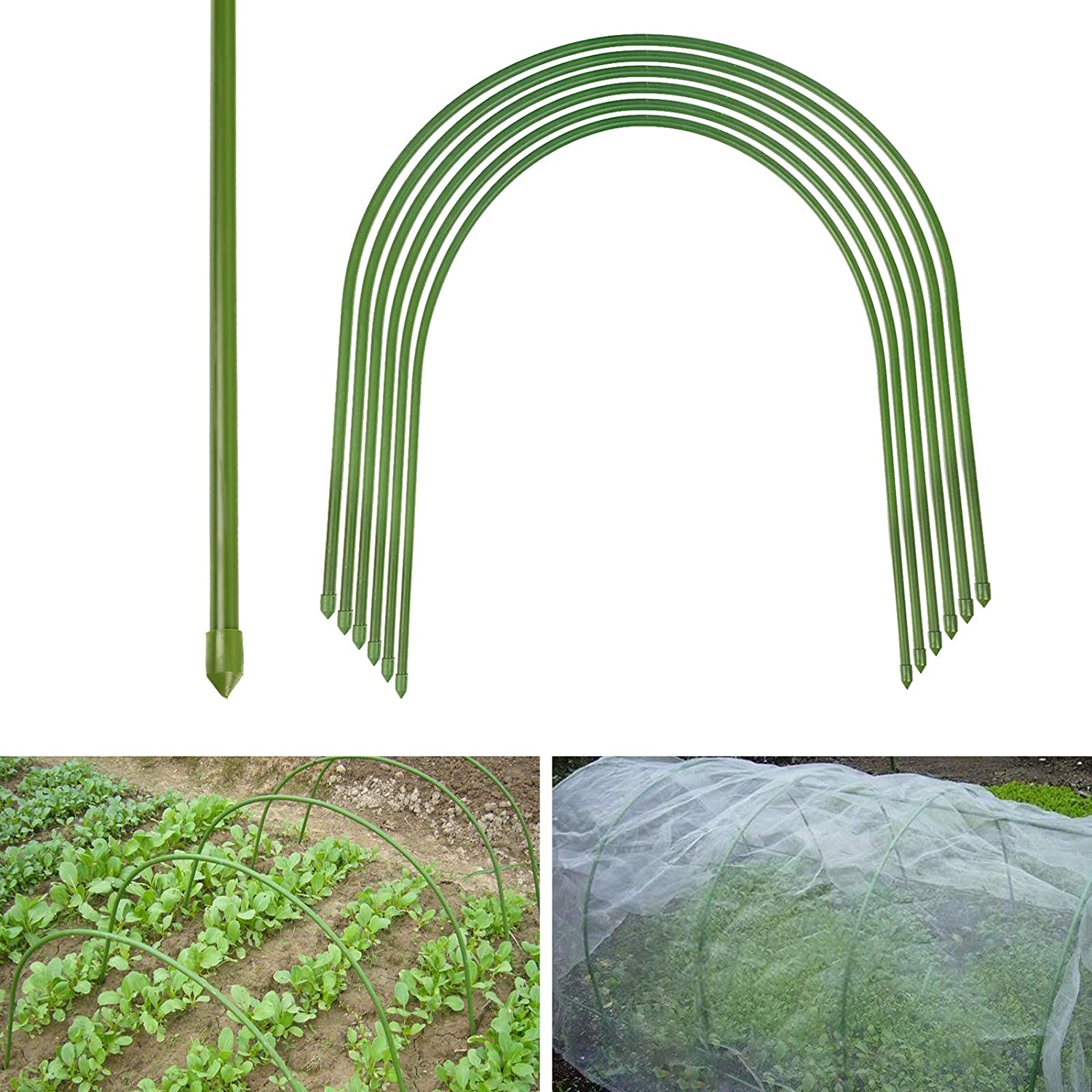BEAMNOVA Greenhouse Hoops 6-Pack Dia. Φ11mm/0.43in 20x19in Garden Hoops for Plant Cover Support Rust Free Plastic Coated Support Hoops for Greenhouses