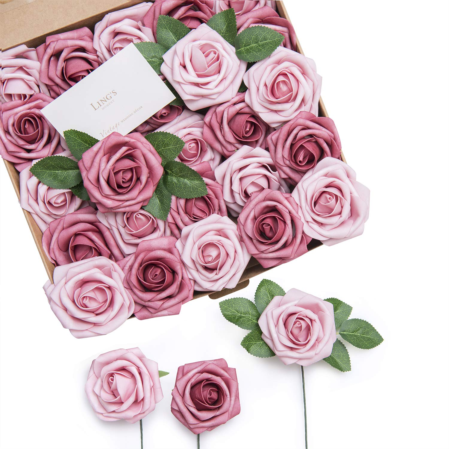 Buy Ling S Moment Roses Artificial Flowers 25pcs Dual Palette Blushing Pressed Rose With Stem For Diy Wedding Flower Arrangements Centerpieces Bouquets Party Decorations Online At Low Prices In India Amazon In