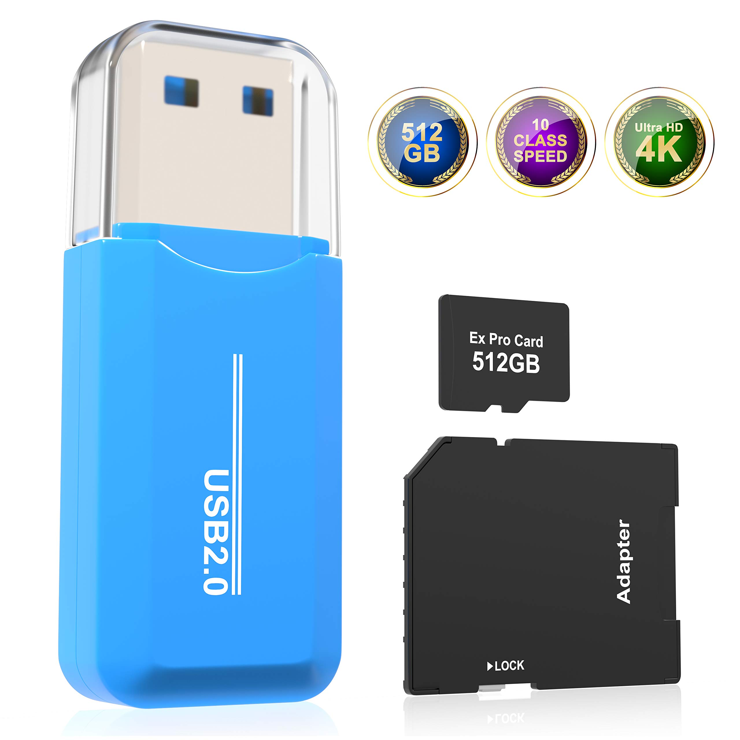 Memory Card Micro Speed Card 512GB sd Card High Class 10 TF Card with Adapter SD SDXC Card for Phone sd Card Camera MP3 Memory Card Flash 512 GB by Ex Card