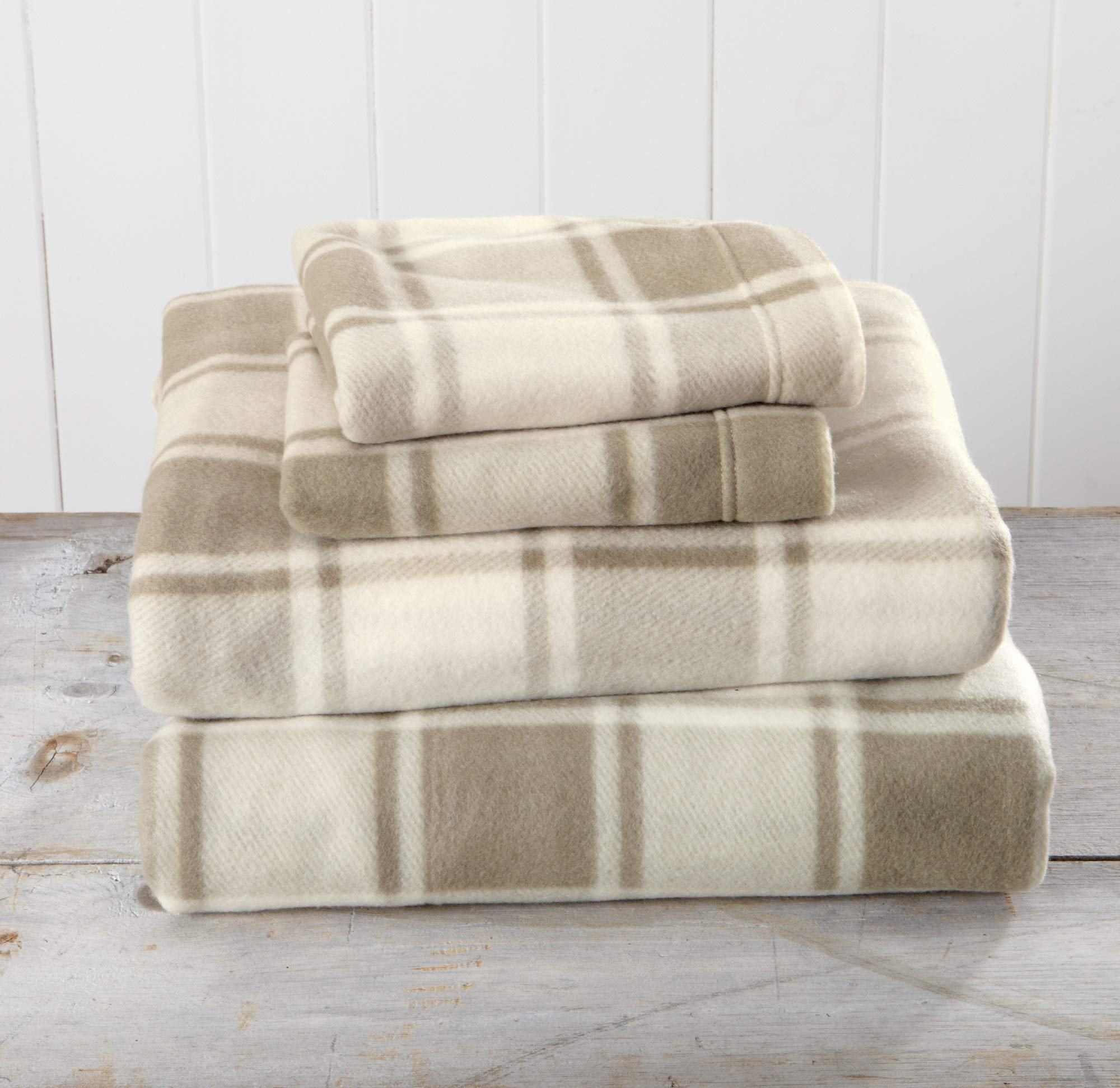 Great Bay Home Super Soft Extra Plush Plaid Polar Fleece Sheet Set. Cozy, Warm, Durable, Smooth, Breathable Winter Sheets with Plaid Pattern. Dara Collection Brand. (Full, Taupe) by Great Bay Home (Image #1)