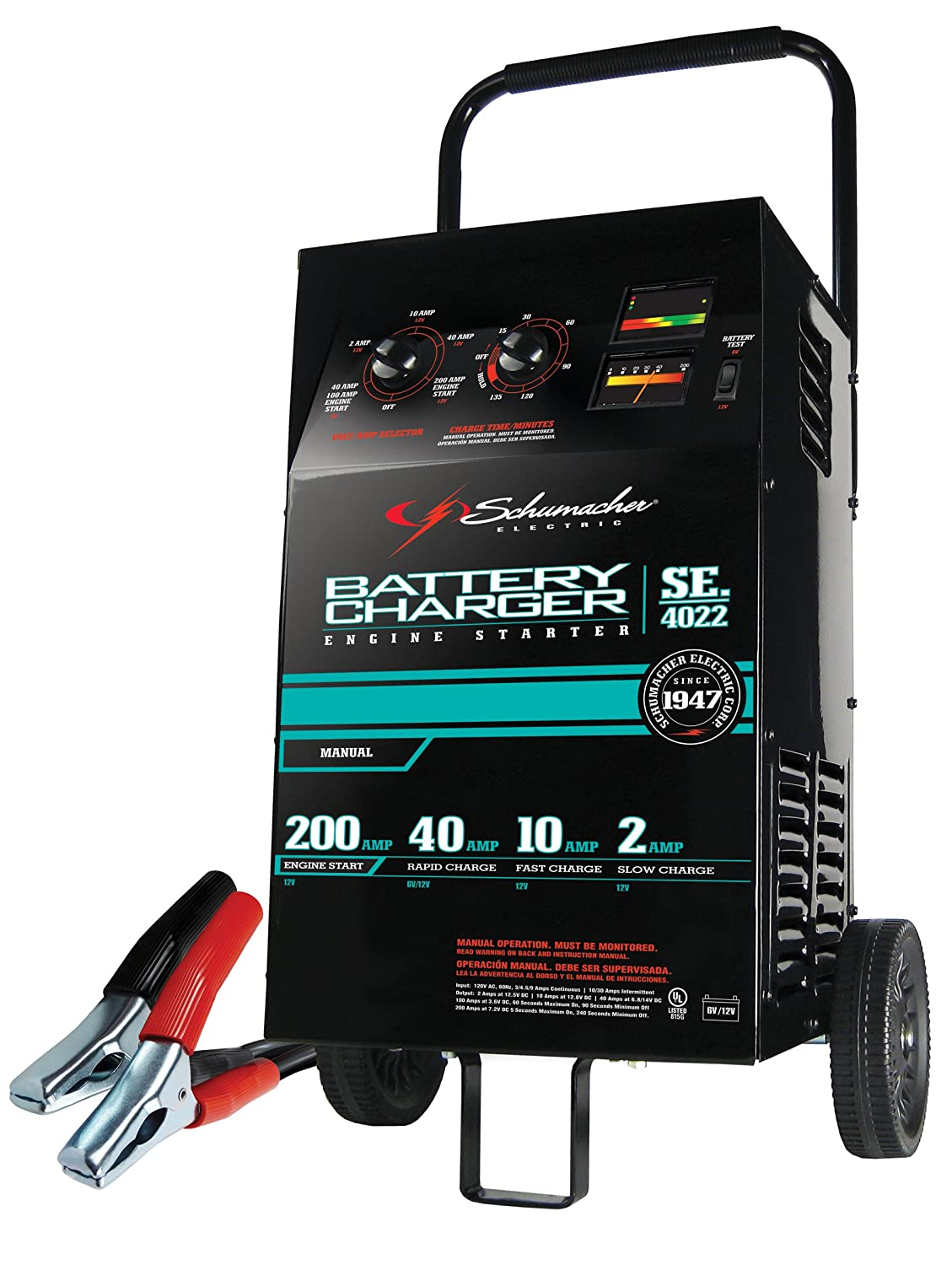 Schumacher SE-4022 Manual Wheeled Car Battery Charger