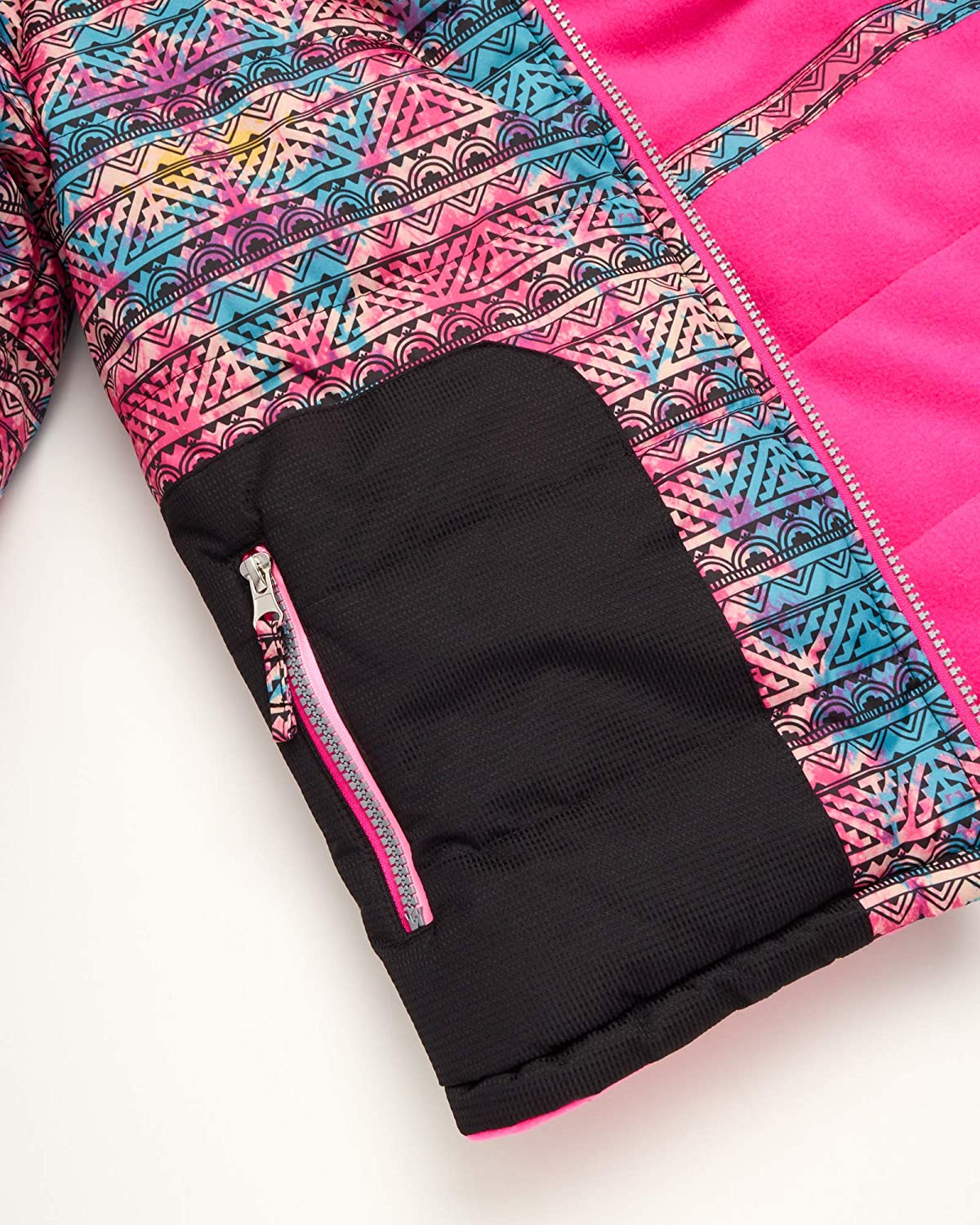 Toddlers//Girls Water Resistant Fleece Lined Winter Ski Jacket and Snow Pants Overall Set Pink Platinum Girls Snowsuit