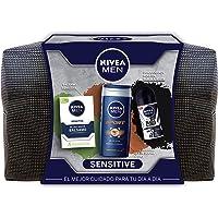 NIVEA MEN Sensitive Neceser, set de baño con desodorante roll on invisible (1 x 50 ml), gel de ducha (1 x 250 ml) y…