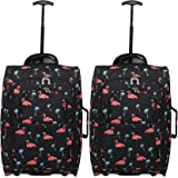 Set of 2 Super Lightweight Cabin Approved Luggage Travel Wheely Suitcase Wheeled Bags Bag Black/Red + Black/Blue (Black Flamingos)