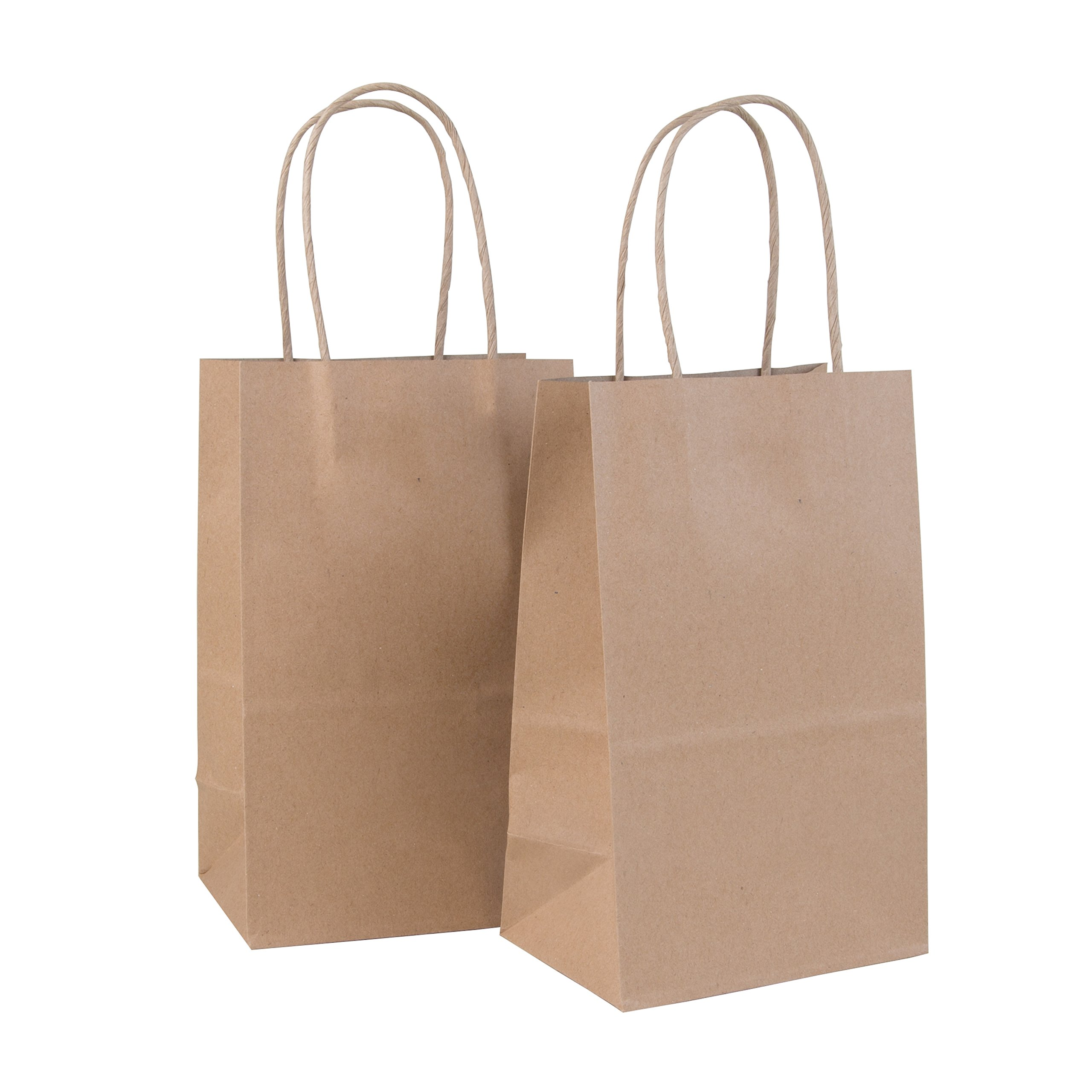 Incredible Packaging - 5.5'' x 3.25'' x 8.37'' Kraft Paper Bags with Handles for Shopping, Lunch, Retail and Merchandise. Strong and Reusable - 120 Bags Count - 80 Paper Thickness (120, Brown)