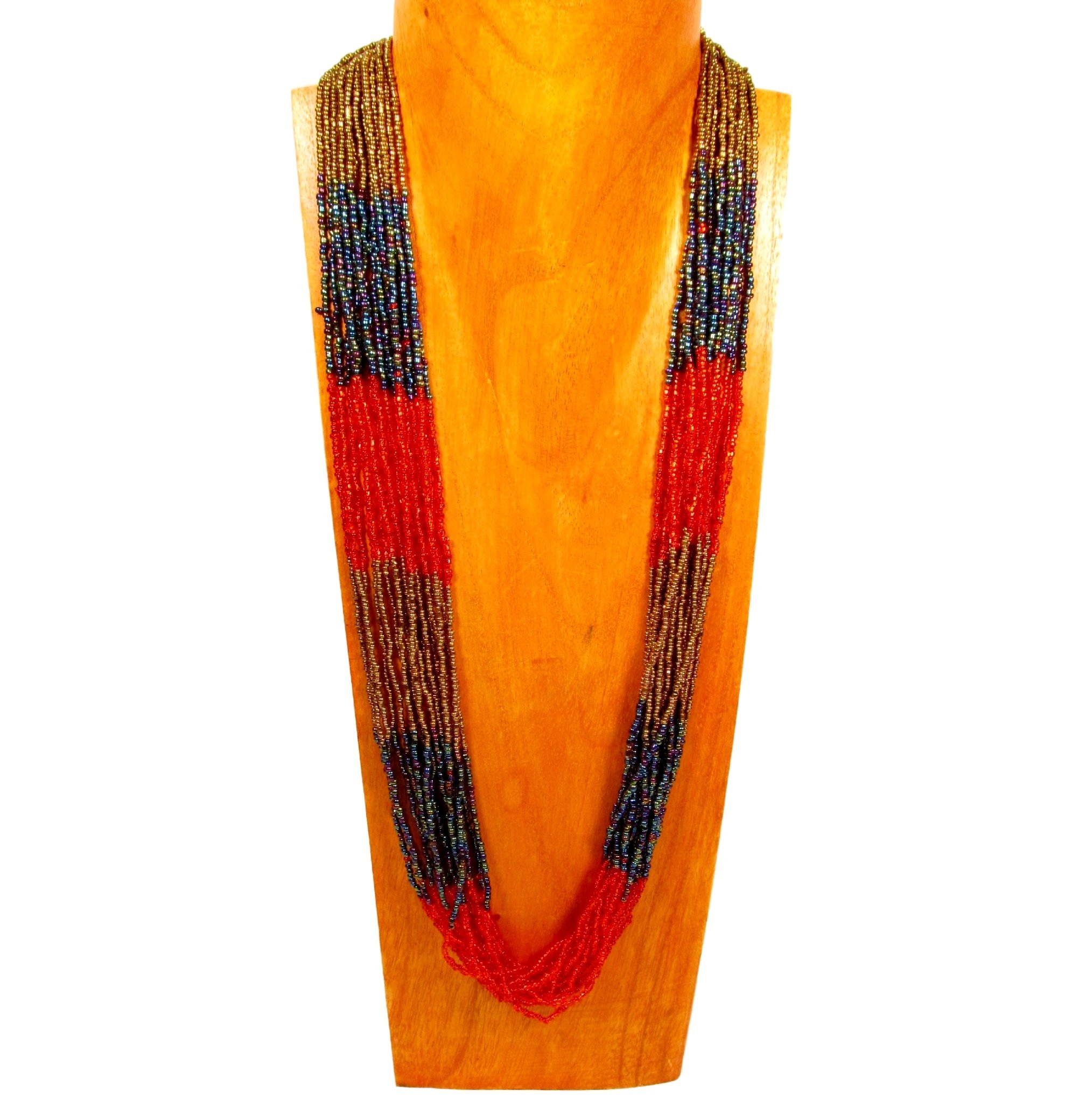 32'' Multi Strand Glass Beaded Red/Gold Color Block Style Handmade Necklace Bali Bay Trading Co