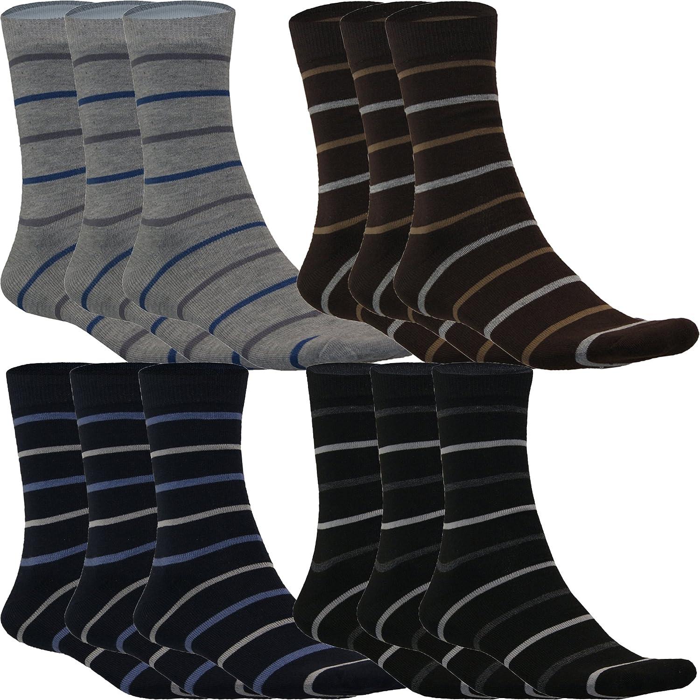 12 24 Paar Business Arbeits Socken für Herren Streifen gestreift Muster Baumwolle von SGS