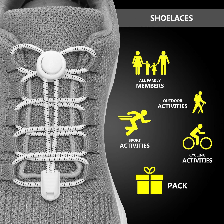 Elastic Locking Shoelaces Shoe Laces Trainer Running Jogging Hiking Sporting NJD