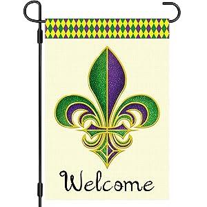 AUKZI Welcome Fleur de Lis Garden Flag, Mardi Gras Lawn Decorations, Vertical Double Sized Canvas, Holiday Party Mardi Gras Classic Design Yard Outdoor Decoration 12.5 x 18 Inch