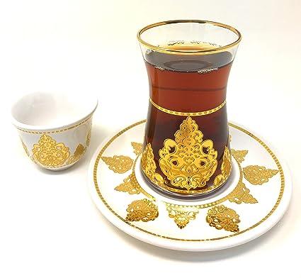 5 OZ Maruf Platinum Turkish Tea Glasses with Saucers and Turkish Mirra Coffee Sets Set of 6